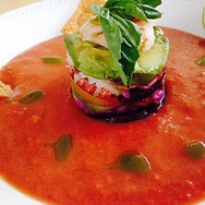 Heirloom Gazpacho Soup with Crab, Beet & Avocado Timbale.