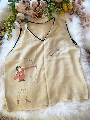 '20s Hand Painted Beach Pajama Blouse