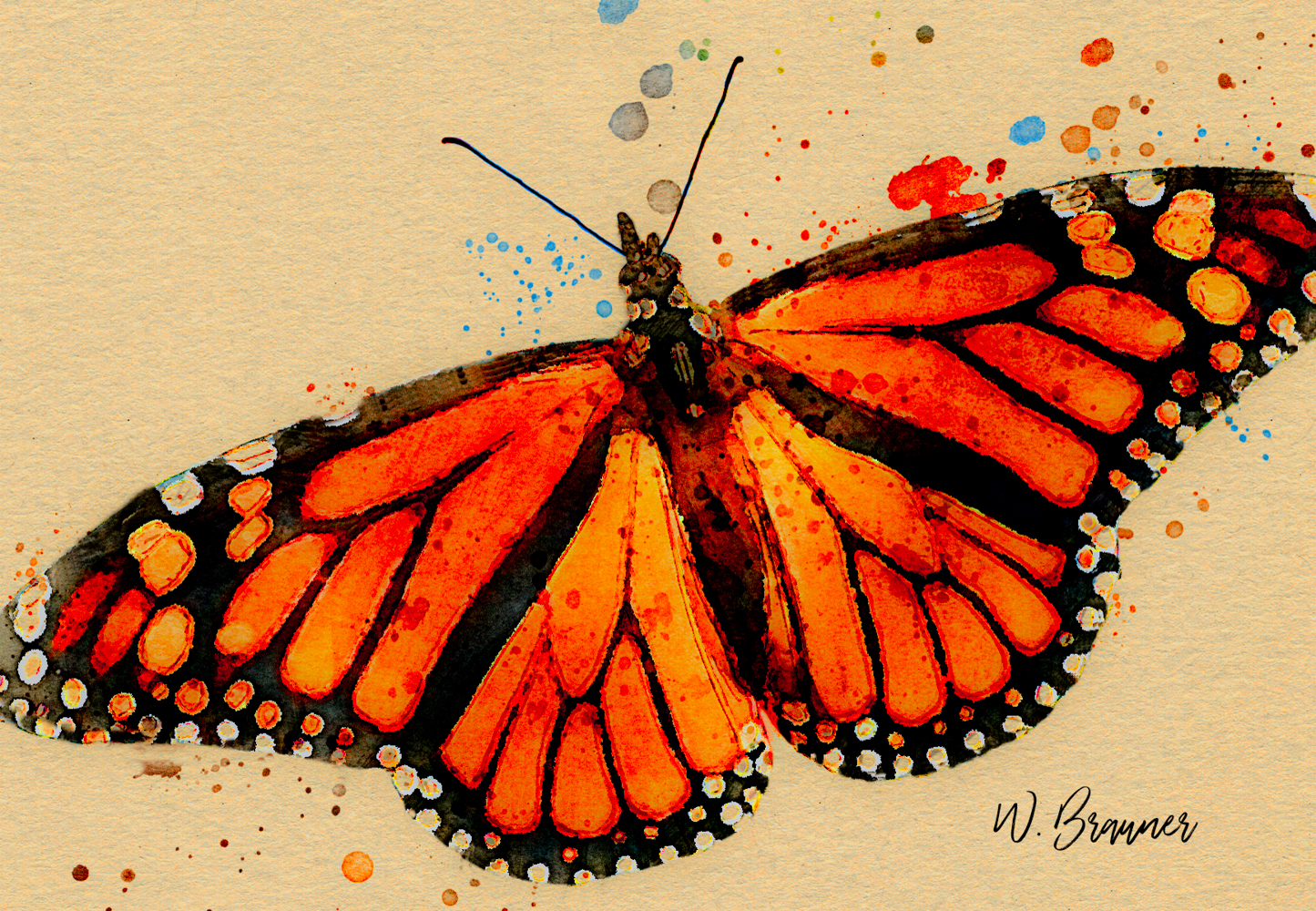 Resting Monarch Butterfly-Watercolor