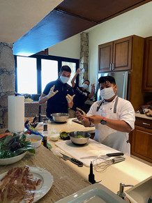 The guys cooking it up in the kitchen!