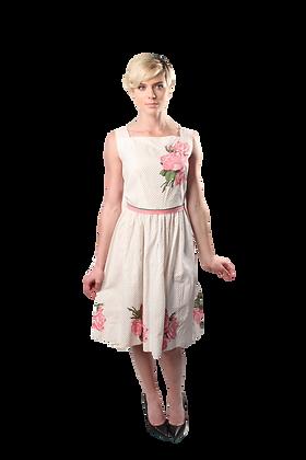 50's Cotton Rose-Print Dress