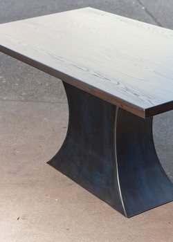 Ash top with sculpted steel base