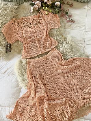 Peach Crochet Two-Piece Skirt Set
