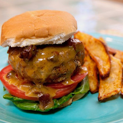 Spicy Honey-Mustard Pork Burgers