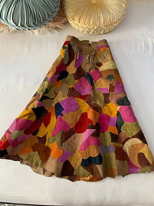 '70s Leather Patchwork Skirt