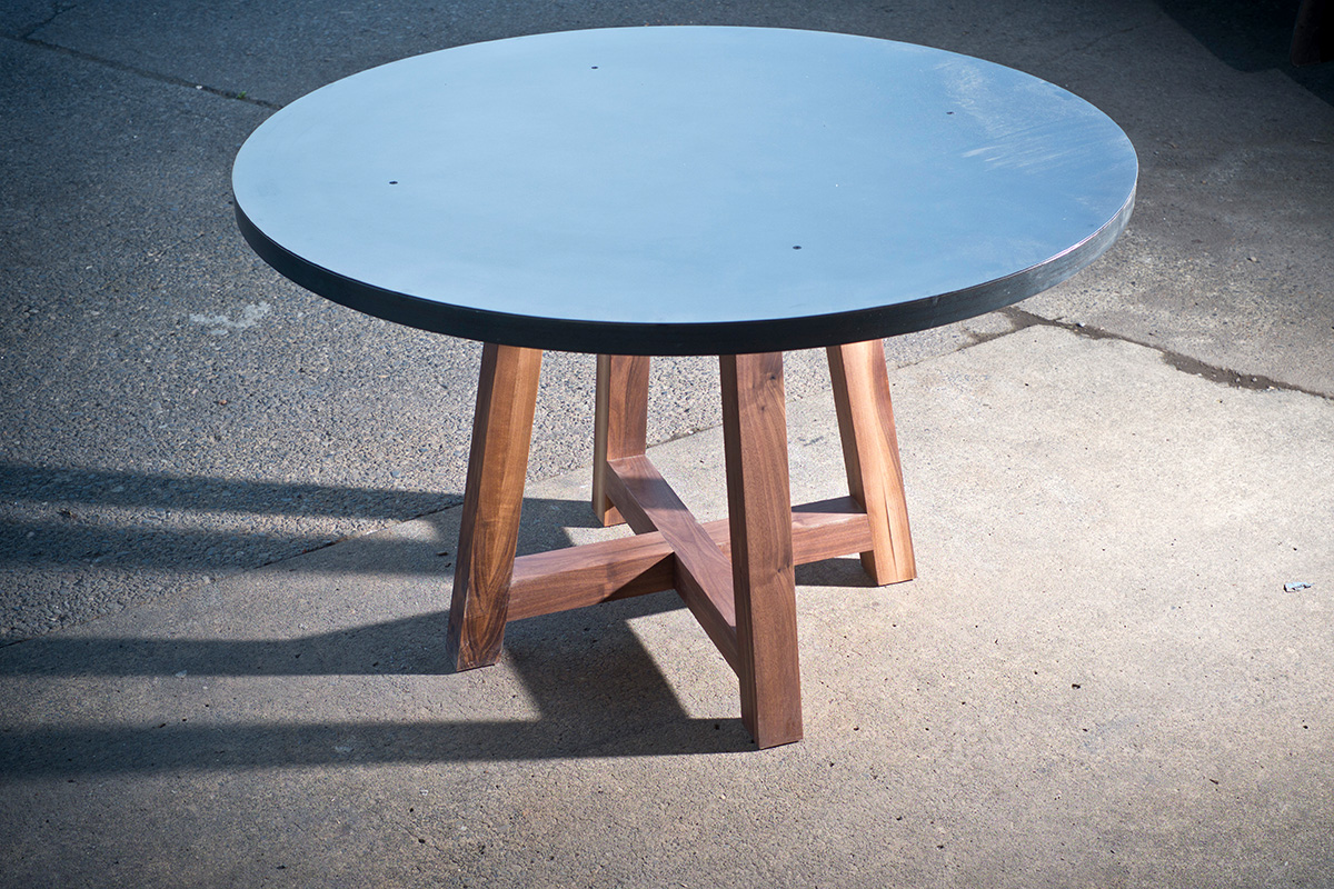 "48"" Steel Top with Solid Walnut Legs"