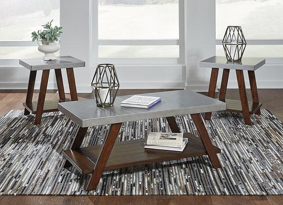 Bellenteen 3 Pack Tables (Brown/Silver)