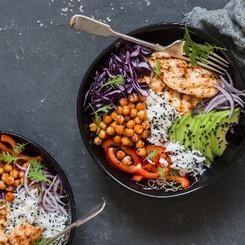 Grilled chicken, rice, spicy chickpeas,