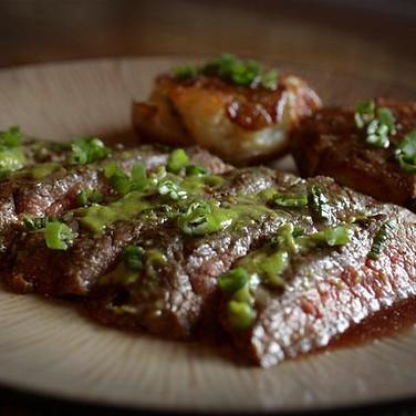 Grilled Flank Steak with Wasabi & Tamari Sauce.