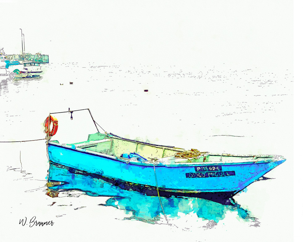 Fishing Boat, Afurada, Portugal watercol