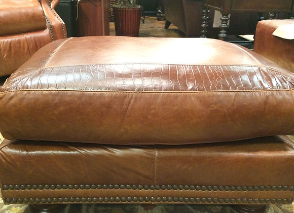 Brandy with Alligator Leather Ottoman