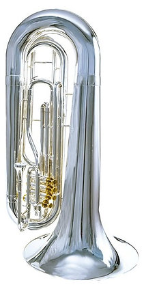 Traditional 3 Valve Tuba, Silver-plate