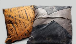 Upcycled Shibori Dyed Leather Pillows