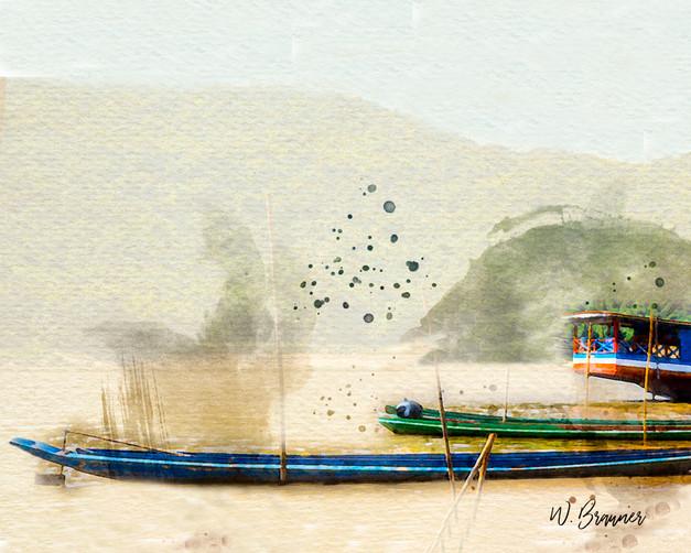 Fishing Boats, Mekong River, South Vietnam