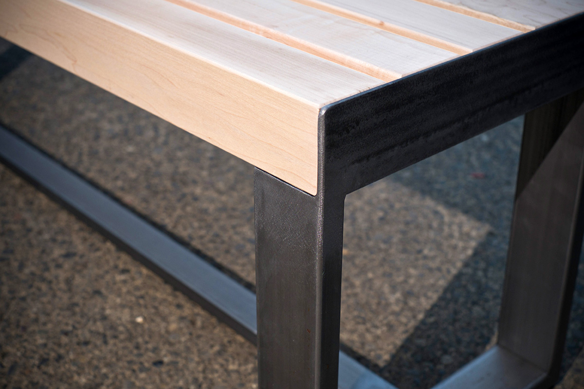 Maple Top - Steel Leg Bench