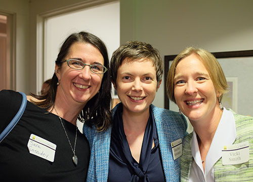 Sara Cassidey, Heather Bowman and Vicki Smith enjoy a moment at the October, 2014 open house.