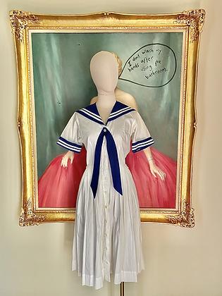 Sweet Nautical Sailor Bib Dress