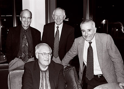 Retired partners (left to right) Barry Mount, Dick Bodyfelt, Roger Stroup and Peter Chamberlain in 2010