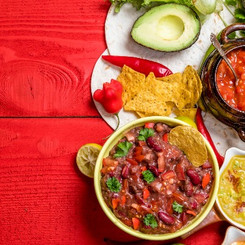 Vegetarian Mexican food concept_ refried