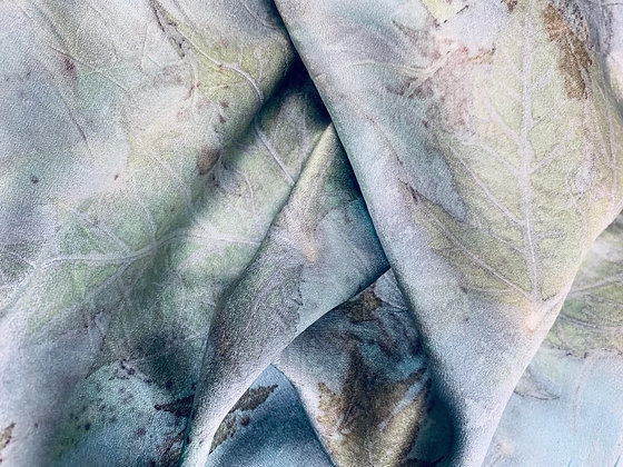 Eco-Dyed & Printed Silk Charmeuse Scarf