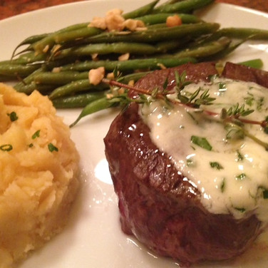 Filet Mignon with Herb Butter.