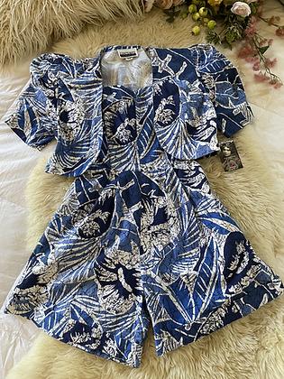 '90s Batik Print Cotton Playsuit & Jacket