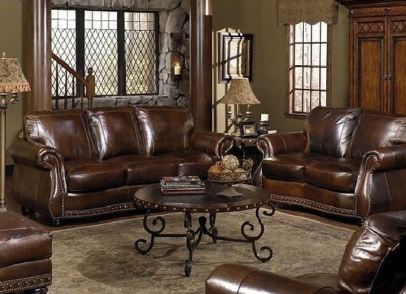 Chesterfield Leather Sofa, Loveseat, Chair, & Ottoman