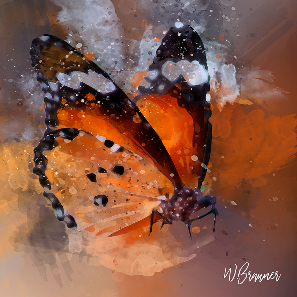 WINGED MONARCH BUTTERFLY-watercolor