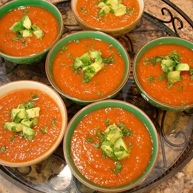 Gazpacho Soup with Avocado & Cilantro.