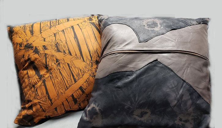Leather Pillow in Gold and Black-Shibori dyed upcycled
