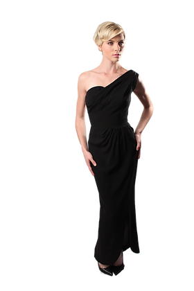 1950's Falcon Black One Shoulder Gown