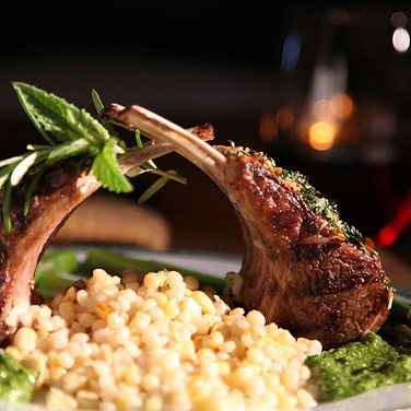 Herb Crust Rack of Lamb with Israeli Couscous.