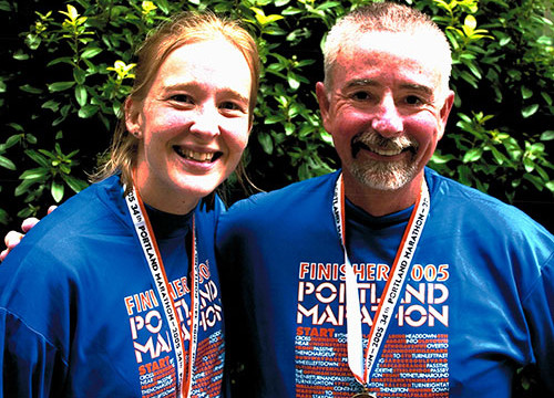 Vicki Smith and Peter Chamberlain at her first and his last marathon in 2005