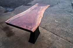 Live edge Walnut and sculpted Steel