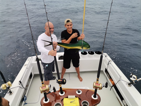 Jeff with Alonso and his first catch!