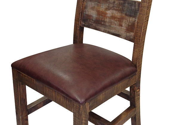 Antique Solid Wood Multi Color Chair with Bonded Leather Seat