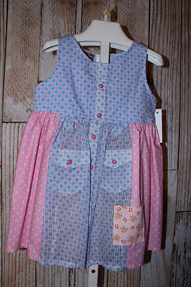 Vintage Western Shirt Dress Blue/Pink
