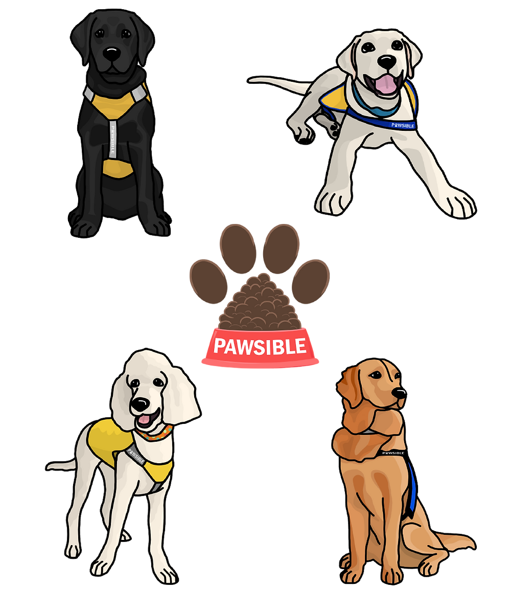 An image showing all of the sticker options for Pawsible's Sticker Fundraiser 2020, including stickers of four puppies and one of Pawsible's logo