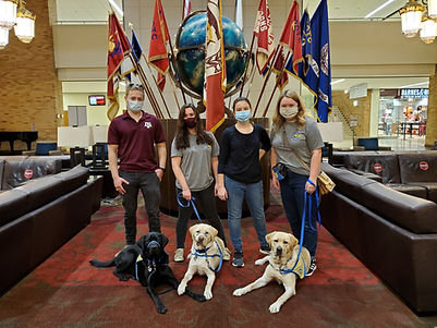 Four puppy raisers stands in front of a globe and flags. A black lab and two yellow labs in yellow vests lay in front of them.