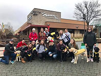 a group of puppy raisers with dogs in yellow vests.