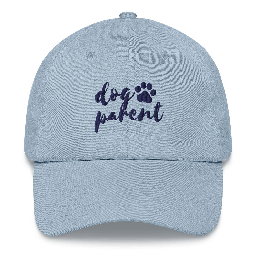 Light Blue baseball cap with navy writing that reads Dog Parent