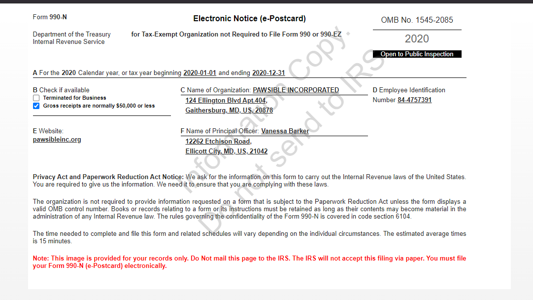 Image of Pawsible's Form990-N from 2020