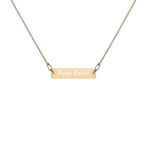 Puppy Raiser Engraved Bar Chain Necklace