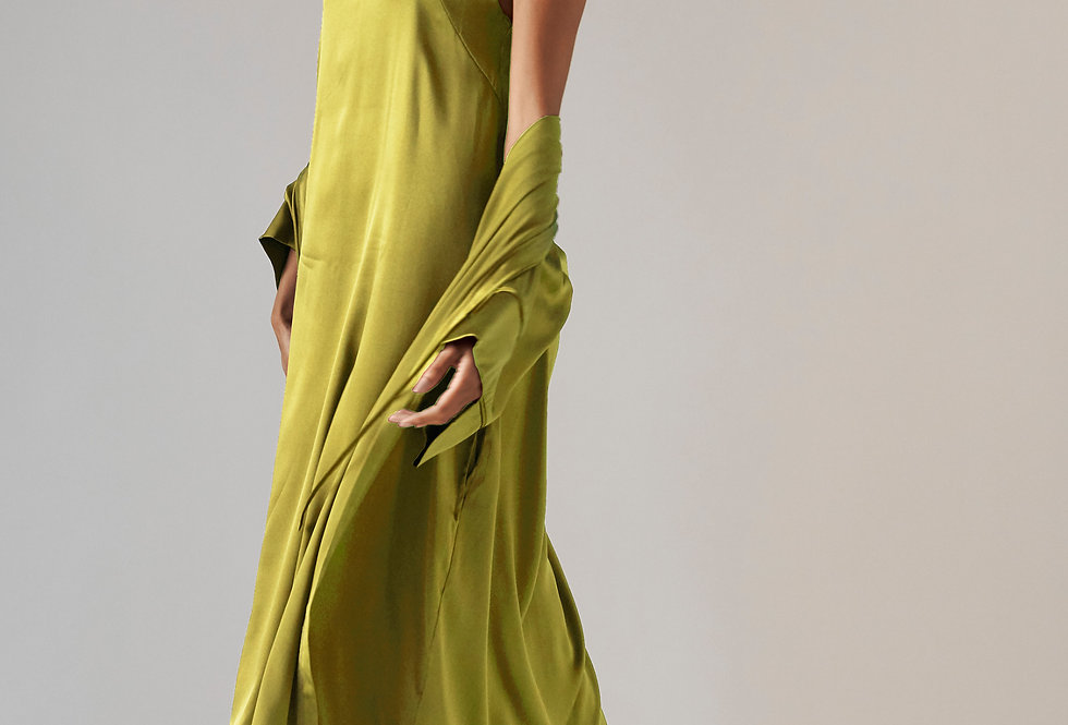 Silk Gown - Chartreuse
