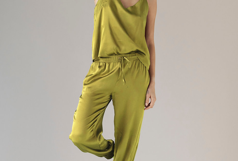 Silk Jogger - Chartreuse