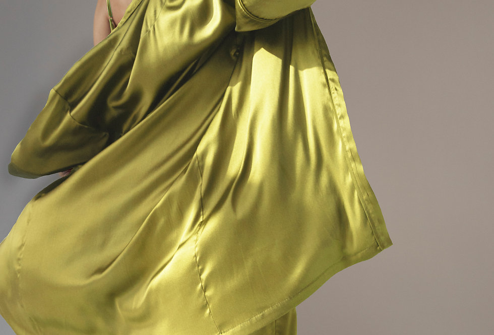 Silk Robe - Chartreuse