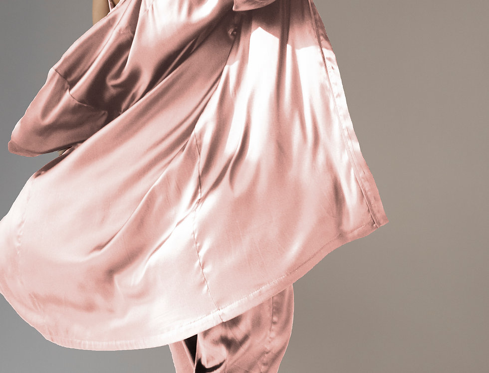 Silk Robe - Pink Frost