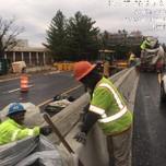 Concrete placed in PCC half curb median barrier cap