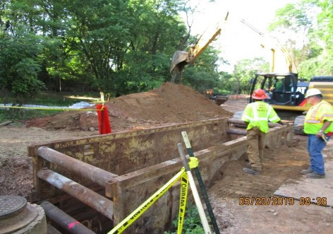 Installing Trench Box to Install Storm Drain Pipe, NPS Property