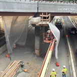Spraying shotcrete concrete